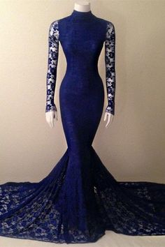 Royal Blue Prom Dress,Lace Prom Dress,Mermaid Prom Dress,Fashion Prom Dress,Sexy Party Dress, New Style Evening Dress