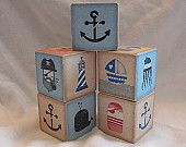 Nautical Sail Boat Sea Whale Pirate Wood Blocks Nursery Room Decor Baby Shower Decoration Birthday Party Toddler Building Toys