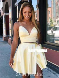 V Neck Two Pieces Yellow Short Prom Dresses, 2 Pieces Short Yellow Formal Homecoming Dresses on Luulla Dresses Short, Hoco Dresses, Event Dresses, Simple Dresses, Sexy Dresses, Party Dresses, 1950s Dresses, Pink Dresses, Bridal Dresses