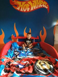 Boys Hot Wheels Themed Bedroom #hotwheels #boysbedroom #bedroom #themedbedroom #cars #paint #color #blue #green #orange #hotwheelcars #hotwheelthemedbedroom #dreambedroom #carbed