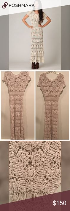 """NWOT Free People hand crochet Maxi dress New without tags. Does not come with a slip. Short sleeved maxi dress with elaborate crochet detailing throughout. Slight scoop neck.  100% cotton Hand wash *Import  Measurements for Size Small: Length: 53"""" Chest (at armhole): 37"""" Waist: 29"""" Free People Dresses Maxi"""