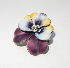 ANTIQUE VICTORIAN ENAMELLED PANSY PENDANT BROOCH ART NOUVEAU PANSY WATCH PENDANT
