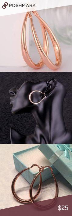18k Rose Gold Hoop Earrings 18k Rose Gold Plated Hoop Earrings Jewelry Earrings