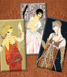Art Deco Women 1x2 Inch Domino Tile Images by steamduststudios