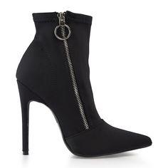 Black Lycra Ankle Boot - Afroka   YDE Black Heels, High Heels, South African Fashion, Toe Shape, Stiletto Heels, Footwear, Ankle, Lady, Boots