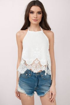 "Search ""Sugarland White Halter Top"" on Tobi.com! crochet hem high neck halter blouse #ShopTobi #fashion #summer #spring #festival Music festival coachella vacation travel packing simple chic boho bohemian chic fashion style fashionable stylish comfy hot weather spring summer trendy tribal patterned shop buy cheap inexpensive ideas for women teens cute sexy edgy college outfit outfits"