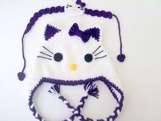 PurpleCrochet  Kitty Hat and headband Crochet by myknittingworld, $26.00