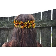 Cute Orange and Yellow Sunflower Tumblr Inspired Hipster Flower Crown... ❤ liked on Polyvore featuring accessories, hair accessories, pictures, flower garland headband, floral crown headband, yellow flower garland, artificial garland and flower crown