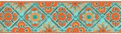 We have this in stock in four great colors and can get our hands on a few more... it also has a matching wider and narrower trim.  I love these intricate designs.