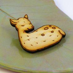 Sleeping Woodland Deer Wood Pin by sugarcookie on Etsy