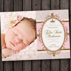royal princess baby girl baby announcement, pink and gold baby announcement