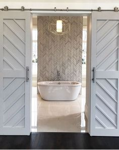 Herringbone Master Bathroom White Design Ideas For Barn Door - March 15 2019 at Barn Door Designs, Modern Farmhouse Bathroom, Herringbone Tile, Bathroom Inspiration, Bathroom Decor, Modern Barn, Bathrooms Remodel, Tile Bathroom, Bathroom Design