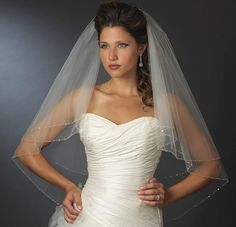 Wedding Veils : Picture Description Beaded Edge Two Layer Fingertip Length Bridal Veil – Affordable Elegance Bridal – - #Veils https://weddinglande.com/accessories/veils/wedding-veils-beaded-edge-two-layer-fingertip-length-bridal-veil-affordable-elegance-bridal/