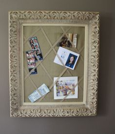 French memo board from an old photo frame - more ideas on this site. #photoframes #frenchmemoboard #diy