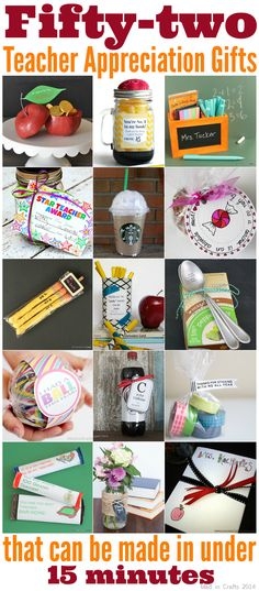 52 Teacher Appreciation Gifts (that can be made in under 15 minutes). Great DIY for end of year gifts or teacher appreciation gift! Volunteer Appreciation, Teacher Appreciation Week, Volunteer Gifts, Volunteer Ideas, Teacher Thank You, Thank You Gifts, Simple Teacher Gifts, Teacher Cards, School Gifts