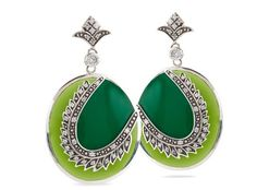 Miriam Salat Emerald feather earrings $495 http://roanshop.com/miriam-salat-emerald-feather-earrings.html