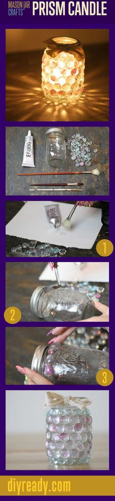 DIY Mason Jar Prism Light diy crafts craft ideas easy crafts diy ideas diy idea easy diy diy candles for the home crafty decor home ideas diy decorations mason jars mason jar crafts