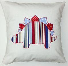 DINOSAUR CUSHION Boys applique bedroom / nursery decoration. Christening / new baby gift accessory