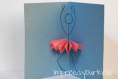 Ballerina Pop-up Card - for birthday, thank you, party invitation, etc. Pop Up Cards, Cute Cards, Diy Cards, Dance Teacher Gifts, Dance Gifts, Art For Kids, Crafts For Kids, Arts And Crafts, Paper Crafts