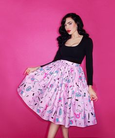 IN-STOCK - Vixen Makeup and Hair Print Full Skirt - Vixen by Micheline Pitt