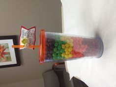 My friend is giving this skittles cup as a gift to her sons teacher, for the end of the school year. Such a cute idea!!