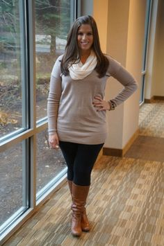 "neutral, taupe, beige, tunic sweater, black leggings, boots  #curvy    ""if you like my curvy girl's fall/winter closet, make sure to check out my curvy girl's spring/summer closet.""   http://pinterest.com/blessedmommyd/curvy-girls-springsummer-closet/pins/"