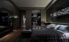 Schlafzimmer Black bedroom Bed shopping advice for the tired shopper It is a fact that the local lib Black Bedroom Design, Black Interior Design, Luxury Bedroom Design, Home Room Design, Dream Home Design, Bedroom Black, Master Bedroom, Men Bedroom, Black Rooms