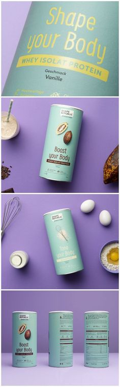 """Studio Oeding - Shape Republic #fitness #food #packaging #design.  """"In a very short period of time, we conceived and created a fitness-food #brand.."""""""