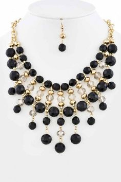 Beaded Dangle Statement Necklace Set - First & Chic - Online Boutique for Women