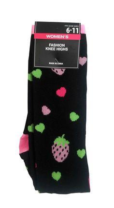 Women's Socks Hearts & Strawberries #stellasaksa #socks #hearts #strawberries #black #kneehighs