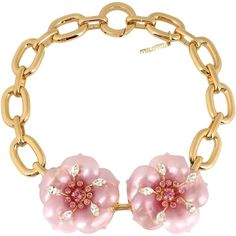 Miu Miu Necklace ($515) ❤ liked on Polyvore featuring jewelry, necklaces, pink, pink flower necklace, pink necklace, pink jewelry, metal jewelry and miu miu necklace