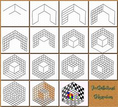 Fru Billedkunst : Op art. How to draw a cube inside another cube. 3D art with instructions in Danish I think.