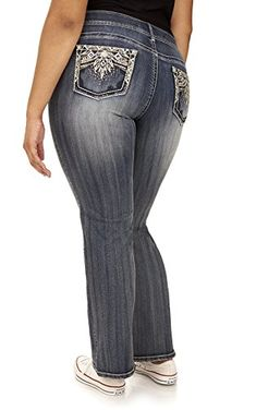 d659850289d These Plus Size Luscious Curvy Bling Bootcut Jeans feature double button  closure