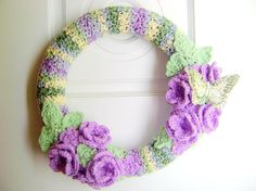 Rhody's Wreath and Crochet Shop: New Crochet Wreath! Love Crochet, Beautiful Crochet, Crochet Flowers, Crochet Baby, Crochet Afghans, Crochet Wreath, Crochet Crafts, Crochet Projects, Knitting Projects