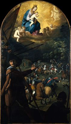 The Battle between Christians and Moors, 1637–39 // Francisco de Zurbarán (Spanish, 1598–1664) In 1370 the Spanish forces were saved from a night ambush when a miraculous light revealed the hidden Moorish troops. This picture depicting the miraculous event was painted for the apse of the Carthusian monastery of Nuestra Señora de la Defensión in Jerez de la Frontera. It formed part of a large, three-tiered altarpiece which comprised fourteen paintings and additional sculptures.