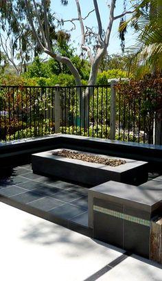 Modern Rectangular Concrete Fire Pit Outdoor Fire Pits Opus Stone Tustin, CA Concrete Fire Pits, Fire Pit Backyard, Concrete Patio, Backyard Patio, Backyard Ideas, Patio Ideas, Outdoor Living Rooms, Outdoor Spaces, Fire Pit Essentials