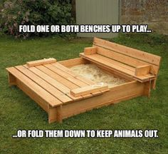 Fold down benches to cover sandbox when not in use to keep out the critters, fold up when it's being used :o) I get it. Might have to try it. Cedar wood (looks nicer plus the kids will be on it constantly), tarp under the sand, and oodles of sand!