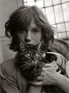 photographer; Edouard Boubat  Isabelle Huppert with cat in 1983 portrait taken in Paris.