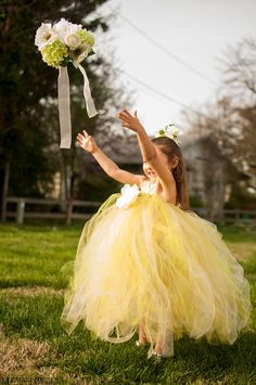 Citrus Yellow & Ivory Tulle Tutu Flower Girl Dress for Weddings.  I love the soft romantic look of this!