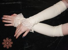 Excited to share the latest addition to my #etsy shop: Ivory middle-arm mittens (milky lace viscose cuffs) with beadwork #accessories #gloves #beige #wedding #rosegold #coolweather #winterwedding #springwedding #middlearmmittens #lacecuffs#lareccreations