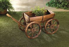 Wood Wine Whiskey Barrel Wagon Flower Stand Garden Outdoor Planter Plant Pot NEW