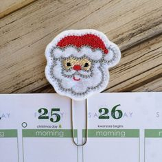 Santa - Christmas Planner Clip, Christmas Gift, Holiday Planner Bookmark, Christmas Gift Idea, Winter Planner Paper Clip