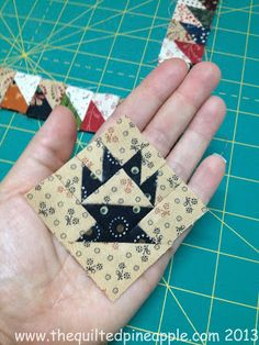 """THE QUILTED PINEAPPLE: Temecula Quilt Co. Sew a little cake stand block that finishes at 2"""". It finishes at about 16""""x19"""". 32 Blocks."""