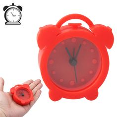 [USD2.92] [EUR2.66] [GBP2.07] Mini Silicon Rubber Desktop Bedroom Alarm Clock (Red)