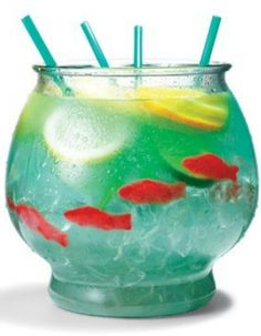 "I can't wait to make this.. went to Goodwill for the fishbowl & everything else I got at the dollar store. You'll need..  Nerds candy(as rocks at bottom of the bowl), 5oz vodka, 5oz malibu rum, 3oz blue curacao, 6oz sweet & sour mix, 16oz pineapple juice, 16oz sprite, 3 lemon slices, 3 lime slices, 3 orange slices, swedish fish (I do only 4), add ice & enjoy! O and 18"" straws lol"