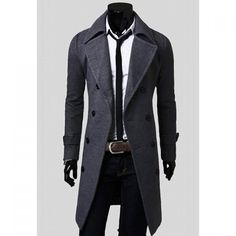 Fashionable Casual Style Long Sleeves Solid Color Slimming Double Breasted Coat For Men found on dresslily.com