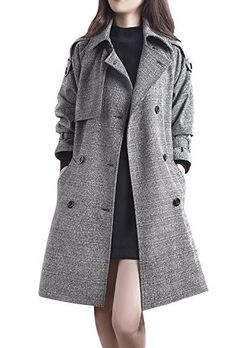 eb7d560d543 LAI MENG Women s Christmas Trench Coat Double Breasted Jacket Outwear  Overcoat Windbreaker with Belt  Amazon.co.uk  Clothing