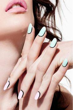 Fingernägel Design bilder weiß schwarz effektvoll