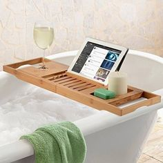 Premium Bamboo Bathtub Tray Caddy - Wood Bath Tray Expandable with Book and Wine Holder - Gift Idea for Loved Ones Wood Bath Tray, Bathtub Tray, Bathtub Caddy, Best Bath Towels, Luxury Bathtub, Home Office Chairs, Floating Wall, Secret Santa Gifts, Sit Back And Relax