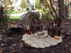 Fairy Garden Fire Pit with Two Chairs by FairyGardenDepot on Etsy, $40.00